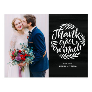 Faux Chalkboard Lettering Photo Wedding Thank You Postcard