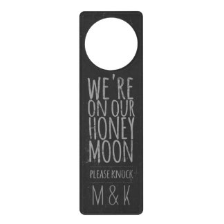 """Faux Chalkboard """"On Our Honeymoon"""" Door Hanger"""