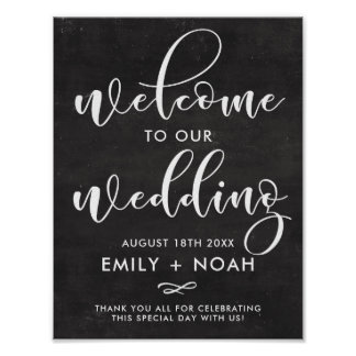 Faux Chalkboard Rustic Script Welcome Wedding Sign