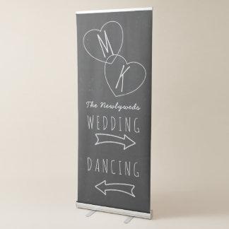 Faux Chalkboard Wedding Arrows Retractable Banner