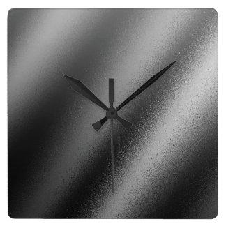 Faux Charcoal Metallic Square Wall Clock