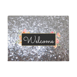 faux chunky silver glitter sequin welcome doormat