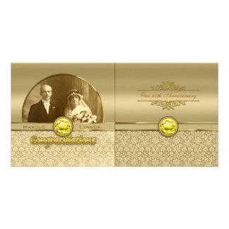 Faux Citrine Yellow Gemstone Metallic Gold Damask Photo Greeting Card