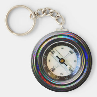 Faux Compass Basic Round Button Key Ring