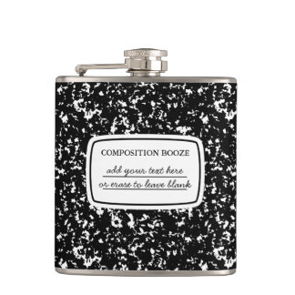 Faux Composition Book (Booze) Flask Custom Message