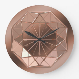 Faux Copper Coloured Octagon Round Wall Clock