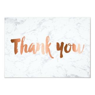 Faux copper foil marble custom thank you wedding 9 cm x 13 cm invitation card