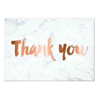 Faux copper foil marble custom thank you wedding card