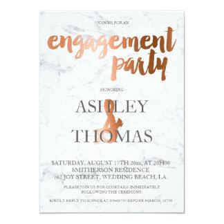 Faux copper foil typography marble engagementparty 13 cm x 18 cm invitation card