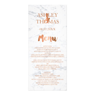 Faux copper foil typography marble wedding menu rack card design