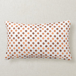 Faux-copper polka dots on custom background color lumbar cushion