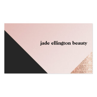 Faux Copper Sequin Black and Pink Diagonal Beauty Pack Of Standard Business Cards