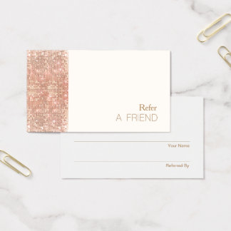FAUX Copper Sequin Salon Referral Customer Loyalty Business Card