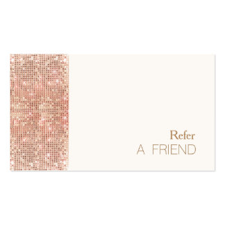 FAUX Copper Sequins Salon Refer A Friend Loyalty Pack Of Standard Business Cards