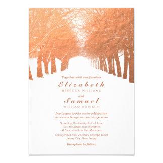 Faux Copper Trees Avenue Wedding Invitation