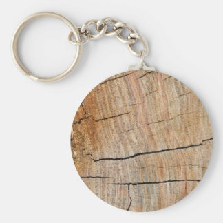 Faux Cracked Tree Rings Basic Round Button Key Ring
