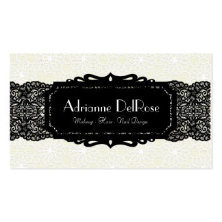 Faux Cream Black Lace French Vintage Business Card