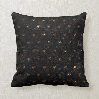 Faux Crushed Velvet Metallic Petite Copper Hearts Cushion