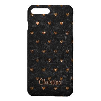 Faux Crushed Velvet Metallic Petite Copper Hearts iPhone 8 Plus/7 Plus Case
