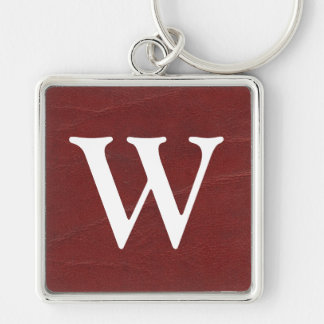 Faux Dark Red Leather Background Silver-Colored Square Key Ring