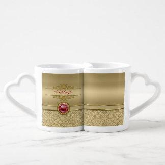 Faux Dark Ruby Red Gemstone Metallic Gold Damask Lovers Mug Sets