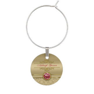 Faux Dark Ruby Red Gemstone Metallic Gold Damask Wine Charm