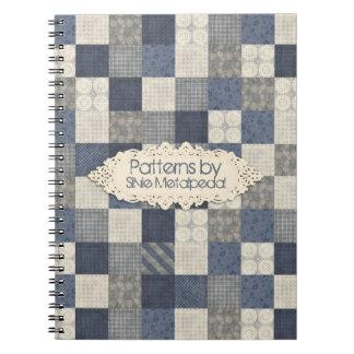 Faux denim blue cream quilting quilter pattern notebook