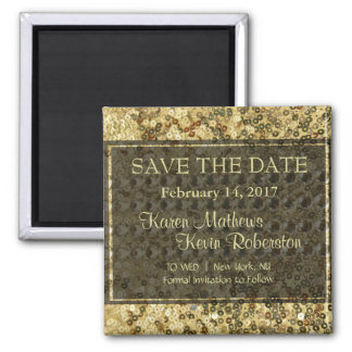 Faux Diamond and Gold Glitter Look Square Magnet