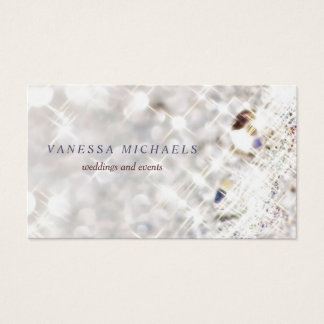 Faux Diamond Bling Glitter Bokeh Event Planner Business Card