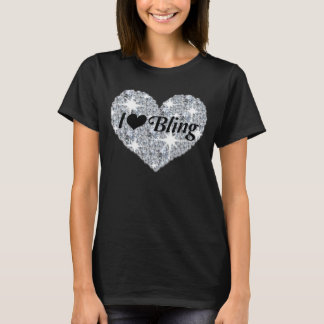 Faux diamond heart i love bling black t-shirt