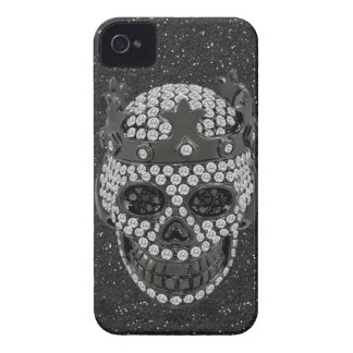 Faux Diamond Skull with Crown Black Glitter iPhone 4 Cover