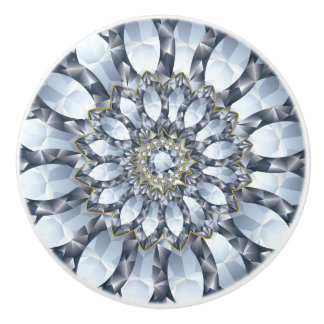 Faux Diamonds & Black Geometric Pattern 2 Ceramic Knob