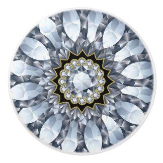 Faux Diamonds & Black Geometric Pattern Ceramic Knob