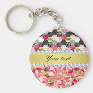 Faux Diamonds Foil Glitter Patchwork Triangles Basic Round Button Key Ring