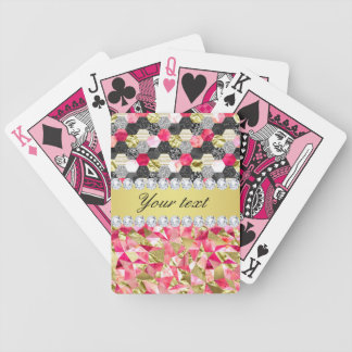 Faux Diamonds Foil Glitter Patchwork Triangles Bicycle Playing Cards