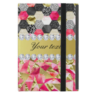 Faux Diamonds Foil Glitter Patchwork Triangles Case For iPad Mini