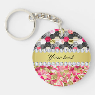 Faux Diamonds Foil Glitter Patchwork Triangles Double-Sided Round Acrylic Key Ring