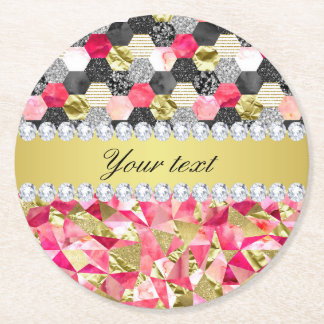Faux Diamonds Foil Glitter Patchwork Triangles Round Paper Coaster