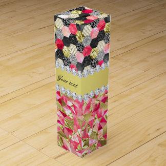 Faux Diamonds Foil Glitter Patchwork Triangles Wine Box