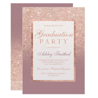 Faux dusty rose gold glitter Graduation party Card