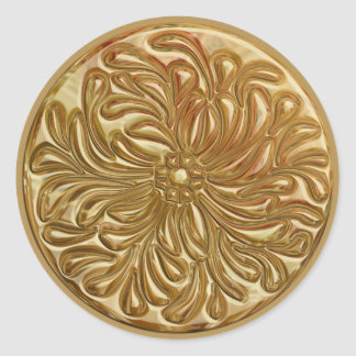 Faux Embossed Gold Design Seal Round Sticker