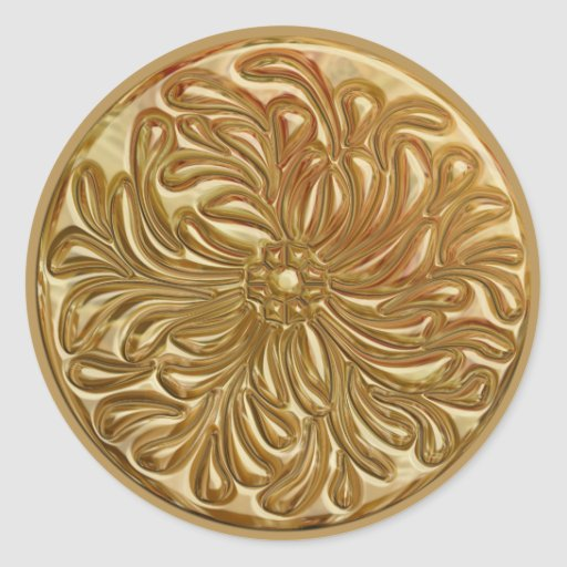 Faux Embossed Gold Design Seal Stickers