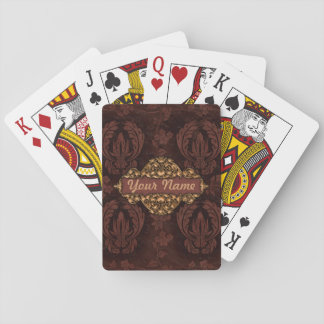 "Faux ""Embossed Leather"" w/Brass Playing Cards"