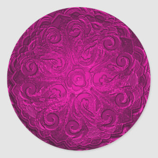 Faux Embossed Look Ornate Seal, Hot Pink Classic Round Sticker