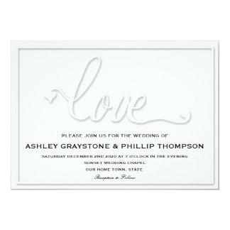 Faux Embossed Love Wedding Invitation