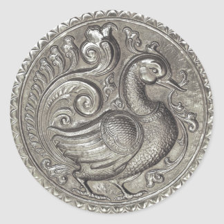 Faux Embossed Peacock Silver Set 1026 Round Sticker