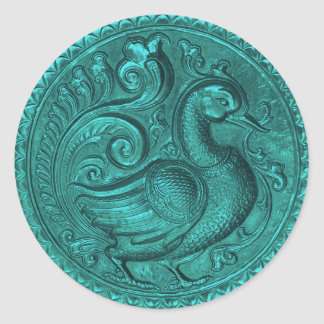 Faux Embossed Peacock Teal Set 1026 Round Sticker