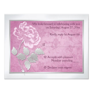 FAUX Embossed Pink Peony on Silver Reply Card