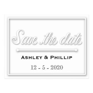 Faux Embossed Save The Date Postcard