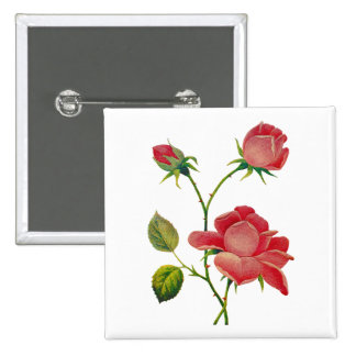 Faux Embroidered Deep Pink Roses Button